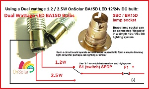 Wiring for BA15D Dual  wattage bulbs. See matching brass sockets on accessories page