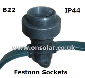 Buy our 10 Meter festoon lighting string with 20 IP44 B22 lamp sockets and  fit your own 240V AC